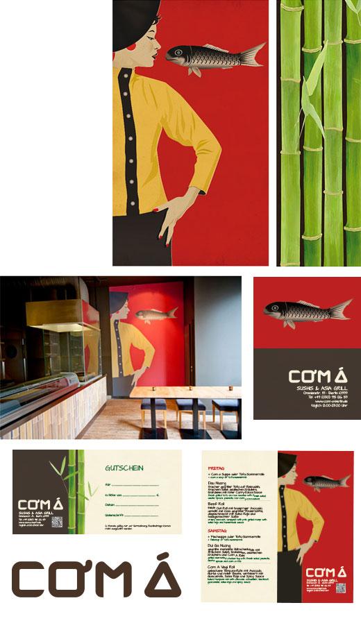 Com Á Iluustrationen für ein asiatisches Restaurant